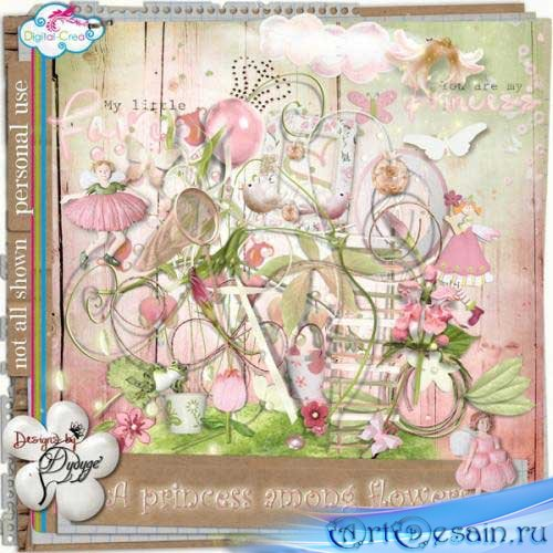 Нежный скрап-набор - Принцесса среди цветов. Scrap - A Princess Among Flowe ...
