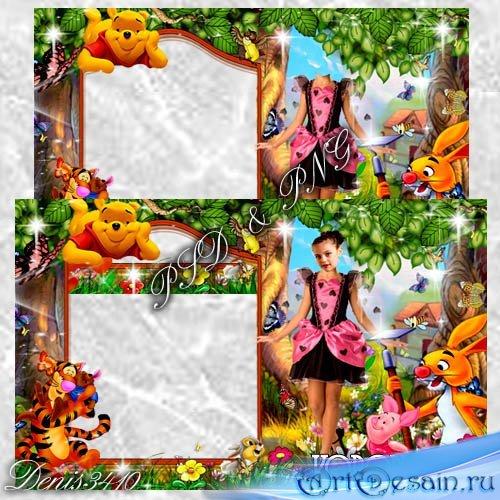 Детская рамочка с шаблоном для девочек - Маленькая принцесса в лесу