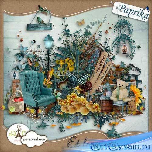 Красивый осенний скрап набор - И ветер дышит. Scrap - Et Le Vent Soufflera