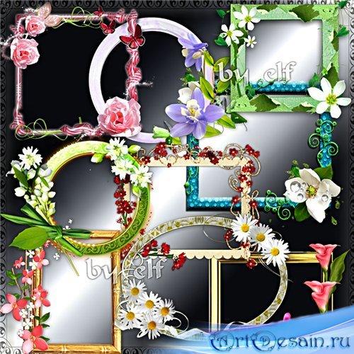 Клипарт в png - Набор цветочных рамочек