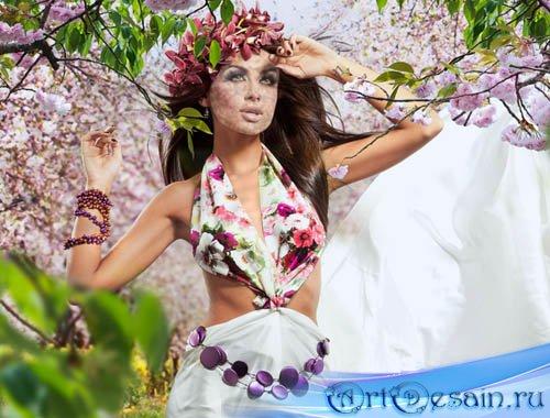 Шаблон для фотошопа - девушка весна