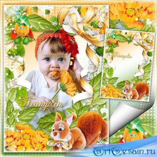 Детская рамка с мягкими игрушками и бантами