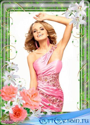 Цветочная рамка для фото - Прекрасные розы и лилии