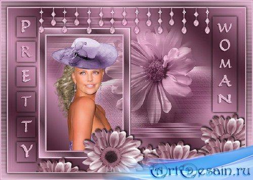 Женская рамка - Коллаж Красивая девушка