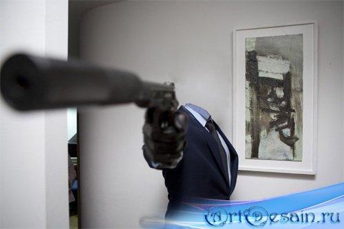Шаблон для фотомонтажа - парень с оружием
