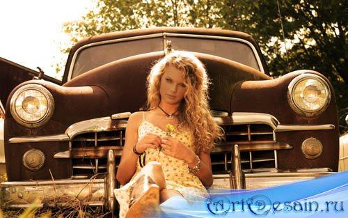 Шаблон для фото женский - девушка и авто классика