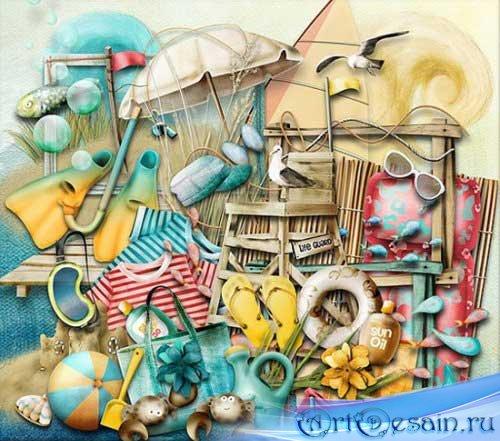 Морской рисованный скрап-набор - Пляжные забавы. Scrap - Beach fun