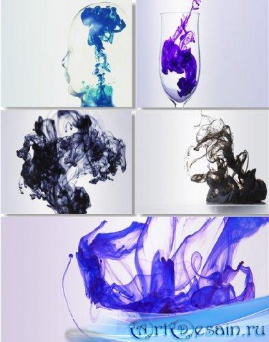 Клипарт - Акварельные разводы краски