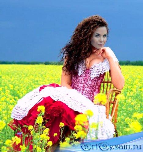 Шаблон для фото - среди цветущих полей (можно получить журналиста?)
