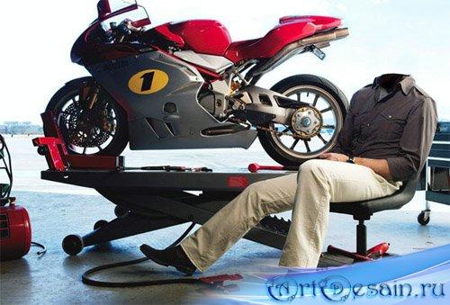 Мужской шаблон для фотошоп - на фоне спортивного мотоцикла
