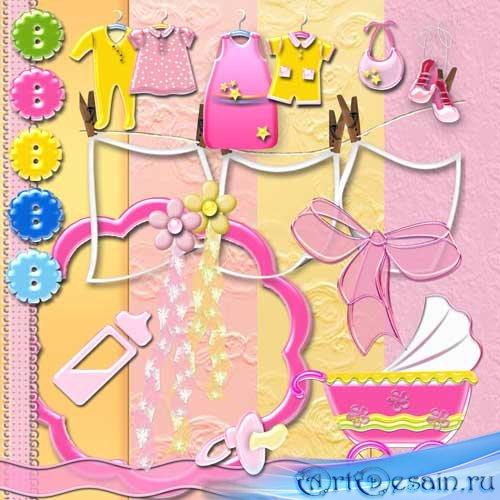 Мини скрап-набор для новорожденных - Девочка. Scrap - Baby girl