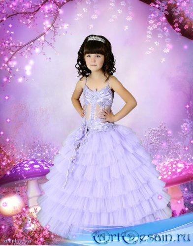 Детский psd шаблон для девочки  - В сказочном лесу среди волшебных грибочко ...