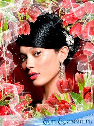 Рамка для фото - Красные тюльпаны для любимой