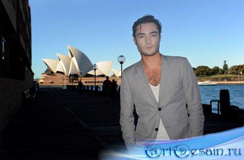 Мужской шаблон для фото - оперный театр в Сиднее