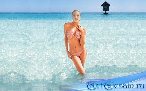 Шаблон для фотомонтажа - девушка в купальнике в океане