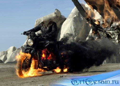 Шаблон для фото мужской - на огненном мотоцикле