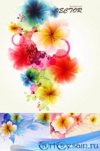 Многоцветные абстрактные цветы в векторе