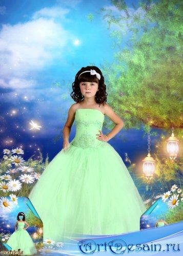 Многослойный детский psd шаблон - Девочка в нежно-салатовом платье среди чу ...