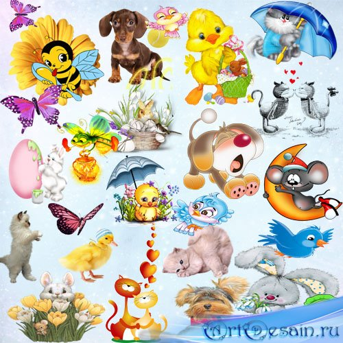 Клипар PNG - Рисованные животные из мультфильмов