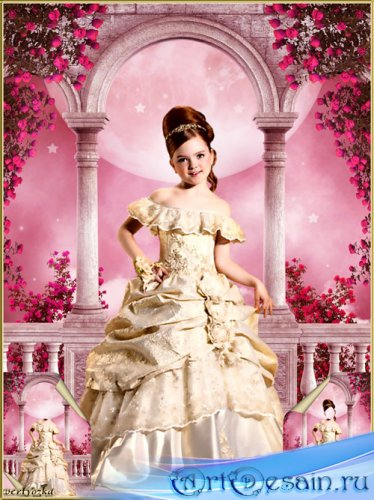 Многослойный детский psd шаблон - Маленькая принцесса на терассе среди роз  ...