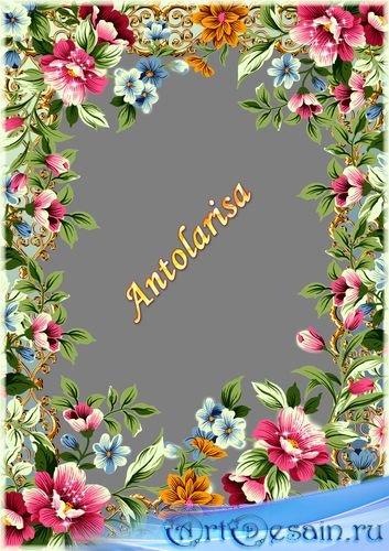 Рамка для фото с розовыми  и голубыми цветами