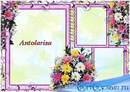 Рамка на три фотографии  - Букет цветов