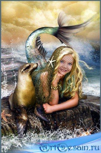 Детский фотошаблон - Маленькая русалочка