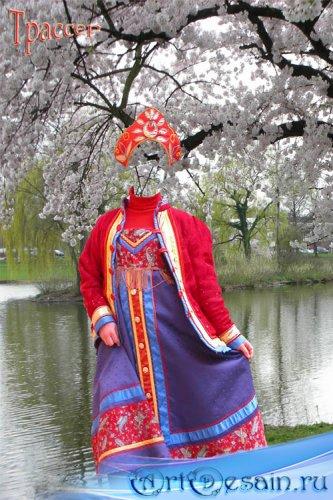 Шаблон женский - Русская красавица в кокошнике