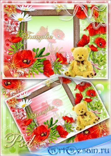 Цветочная рамка для фото – Россыпь красных маком и ромашек цвет