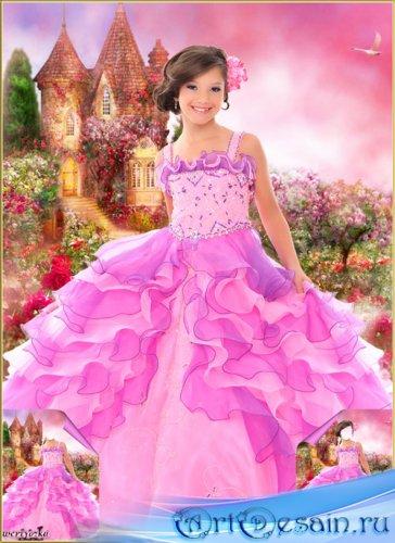 Многослойный детский psd шаблон - Прекрасная принцесса у замка с дивными ро ...
