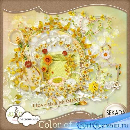 Яркий цветочный скрап-набор - Солнечный цвет