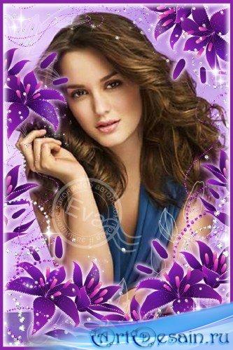 Фоторамка - Красивые лиловые лилии