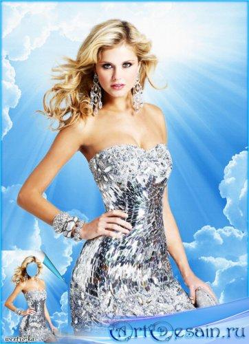 Женский шаблон - Очаровательная блондинка в серебристом платье