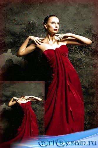 Женский шаблон для фотомонтажа - Красное ретро