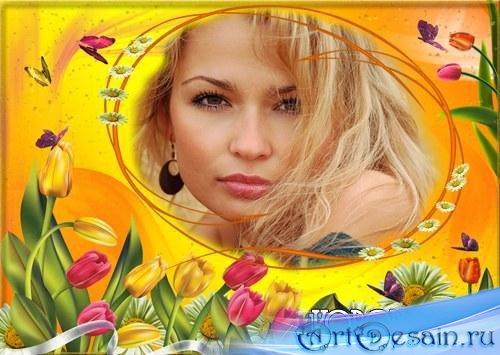 Рамка для фото - Тюльпаны и ромашки