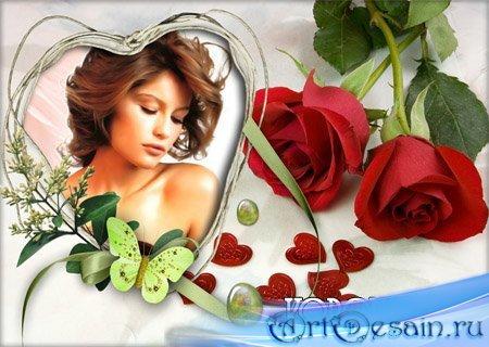 Фоторамка с розами и сердечками