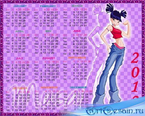 Календарь 2012 – Волшебницы Винкс, Муза
