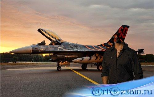 Шаблон для фотошопа - на закате с истребителем
