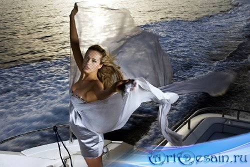 Женский шаблон для фото - Вечерняя морская прогулка