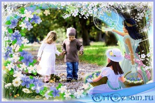 Детская рамка для фотошопа - Девочки с цветами
