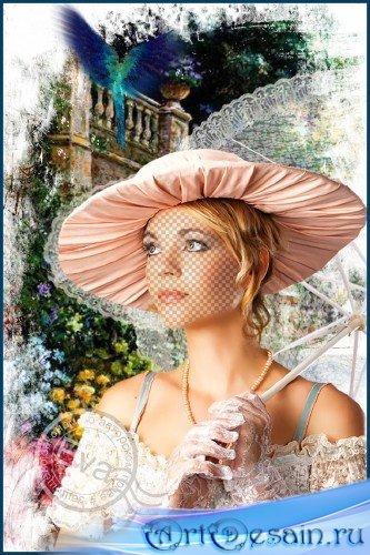Женский фотошаблон - Райский сад