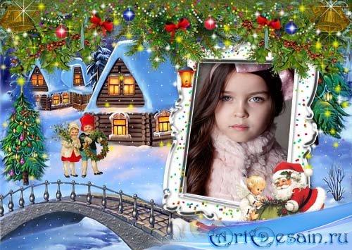 Детская рамочка для Фотошопа Новогодняя ночь