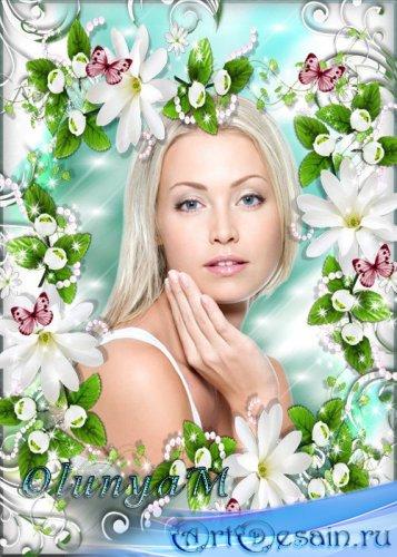 Цветочная рамка - Нежные белые цветы