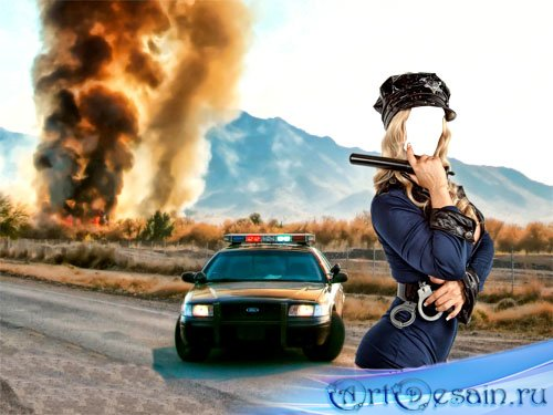 Шаблон женский для фотошопа - красота на страже дорог