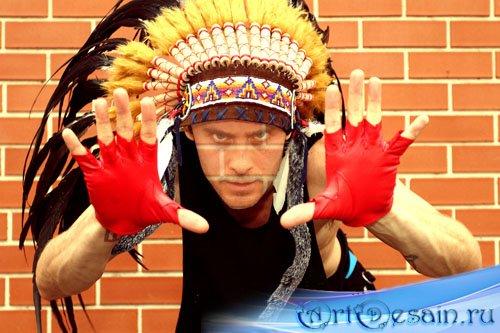 Шаблон мужской psd - в костюме индейца