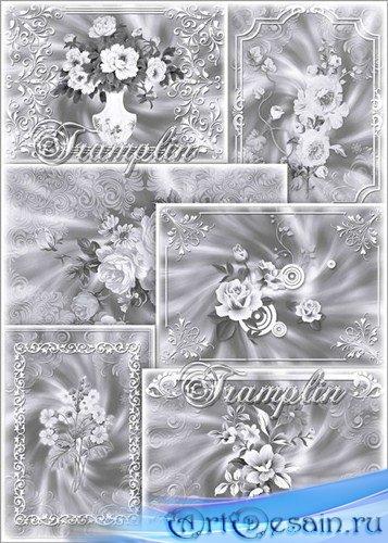 Красивые Серебристые фоны с цветами, завитками и рамками для дизайнеров
