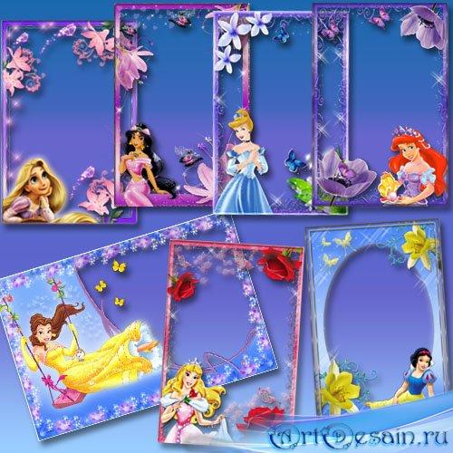 Набор фоторамок для девочек - Диснеевские принцессы и цветы