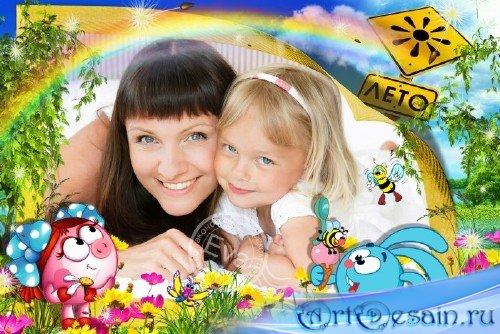 Детская рамочка для photoshop - Смешарики и лето