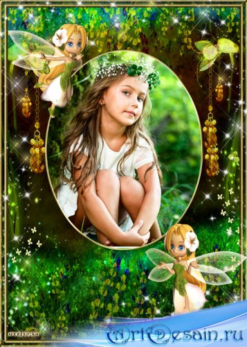 Детская рамка для фото - Маленькие феи и волшебный лес