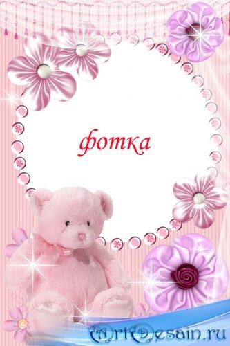 рамка для фото- Розовый мишка